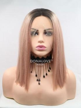 BLACK TO ROSE STRAIGHT BOB SYNTHETIC LACE FRONT WIG SNY217