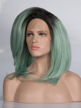 Black ombre Light Green Straight Bob Lace Front Synthetic Wig-DQ027