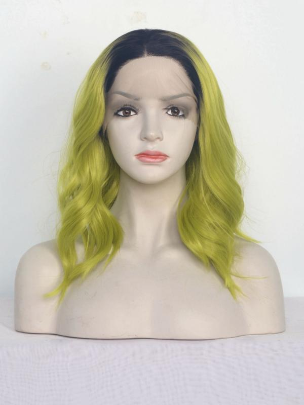 Black to Apple Green Wavy Shoulder Length Synthetic Lace Front Wig-SNY115