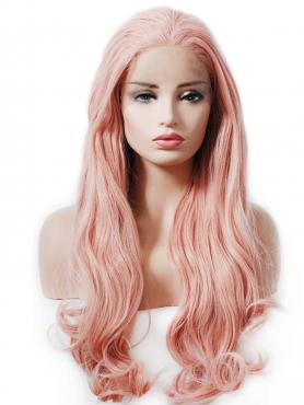 ROSE PINK LONG WAVY SYNTHETIC LACE WIG SNY192