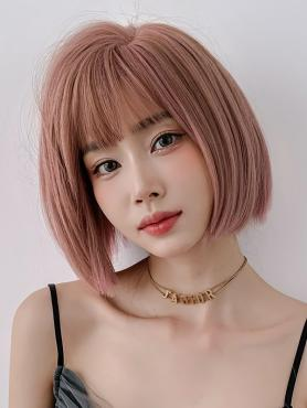 PINK STRAIGHT BOB SYNTHETIC WEFTED CAP WIG LG368