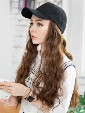 BLACK BASEBALL CAP WITH BROWN SYNTHETIC HAIR, WIG HAT WB010