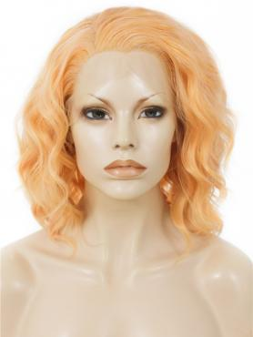 Orange Curly Shoulder Length Bob Lace Front Synthetic Wig SNY134