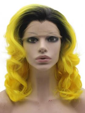 BLACK TO YELLOW WAVY SHOULDER LENGTH SYNTHETIC LACE FRONT WIG SNY194