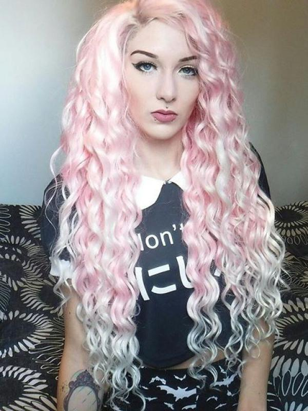 Pink waist length curly Synthetic Lace Wig-SNY029