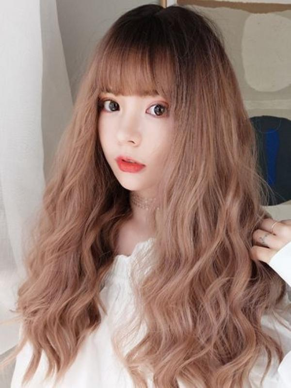 2019 New Cute Peachy Pink Long Wavy Wefted Synthetic Wig LG013
