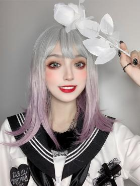 SILVER TO LAVENDER SYNTHETIC WEFTED CAP WIG LG084