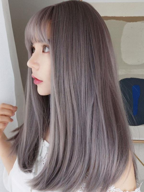 cc2b6e7c60 2019 New Gray Pink Straight Synthetic Wefted Cap Wig with Bangs LG007