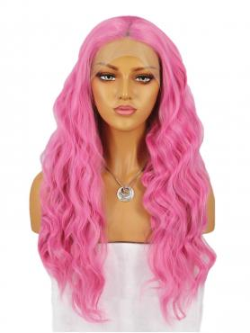 PEACH BLOSSOM PINK LONG WAVY SYNTHETIC LACE WIG SNY191