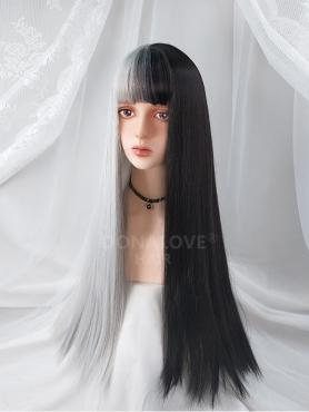 HALF BLACK AND HALF GREY LONG STRAIGHT SYNTHETIC WEFTED CAP WIG LG210
