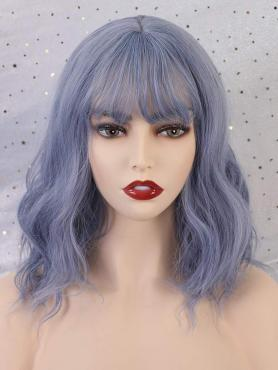 Blue Ombre Grayish Purple WAVY SYNTHETIC WEFTED CAP WIG WW058