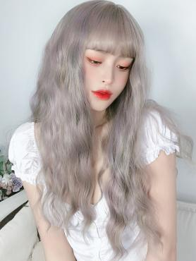 SILVER LONG CURLY SYNTHETIC WEFTED CAP WIG LG237
