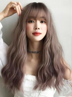 New Gray Pink Synthetic Waist Length Wavy Wefted Cap Wig LG039