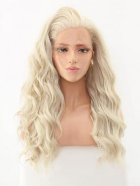Gray Wavy Waist-length Lace Front Synthetic Wig-DQ016
