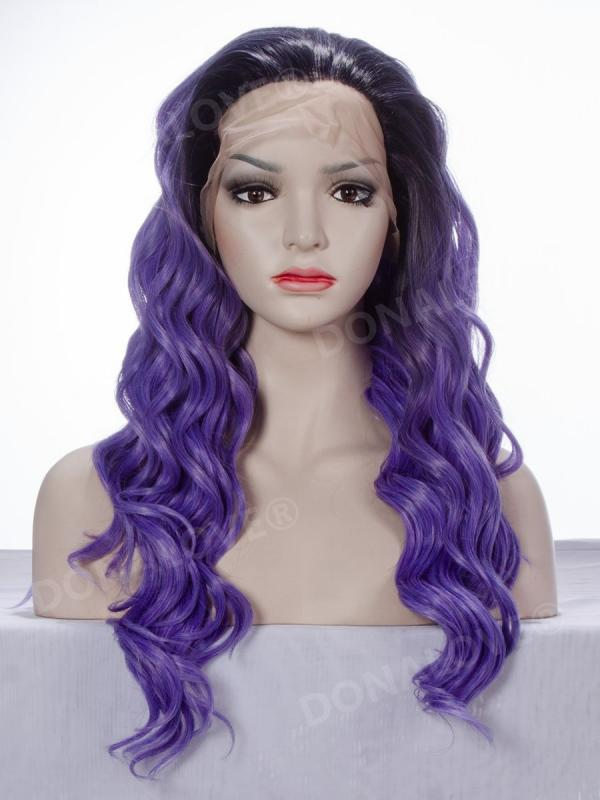 Black to Dark Purple Long Wavy Synthetic Lace Front Wig-SNY043