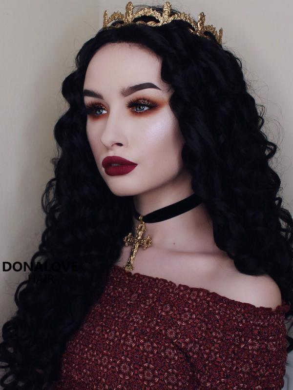 Black Curly Waist Length Synthetic Lace Front Wig-SNY054