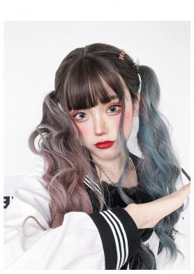 MIXED COLOR LONG WAVY SYNTHETIC WEFTED CAP WIG LG182