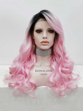 BLACK TO PINK WAVY SYNTHETIC LACE FRONT WIG SNY323