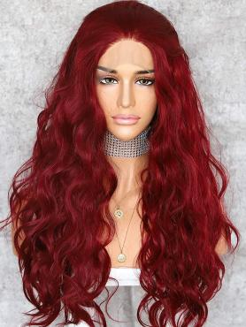 NEW HOT RED BEACH WAVY SYNTHETIC LACE FRONT WIG SNY151