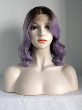 Purple Shoulder Length Wavy Synthetic Lace Front Wig SNY123