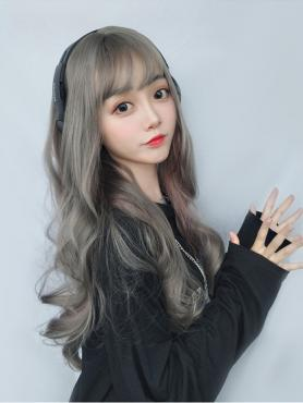NEW MIXED GRAY LONG WAVY SYNTHETIC WEFTED CAP WIG LG099