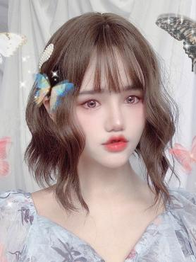 WOOD BROWN SHORT WAVY SYNTHETIC WEFTED CAP WIG LG285