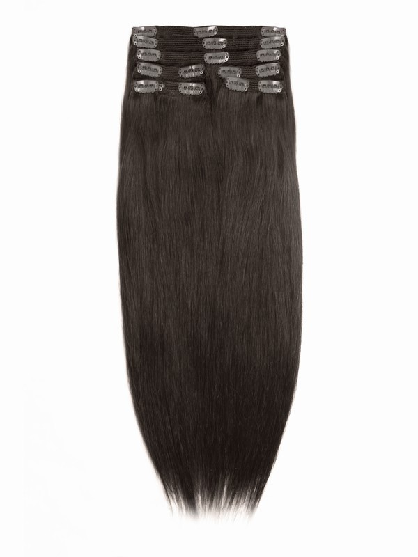 Medium Dark Brown Indian Remy Clip In Hair Extensions Sd005 Clip