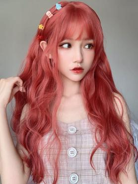 ORANGE RED LONG WAVY SYNTHETIC WEFTED CAP WIG LG283