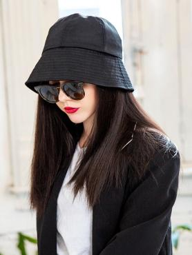BLACK BUCKET HAT WITH BROWN SYNTHETIC HAIR, BLACK STRAIGHT, WIG HAT WB009