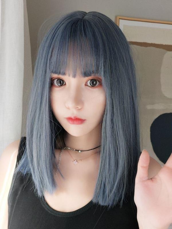 2019 Dreamy Blue Mid-Length Straight Synthetic Wefted Cap Wig LG015
