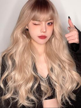 BROWN TO BLONDE LONG WAVY SYNTHETIC WEFTED CAP WIG LG497