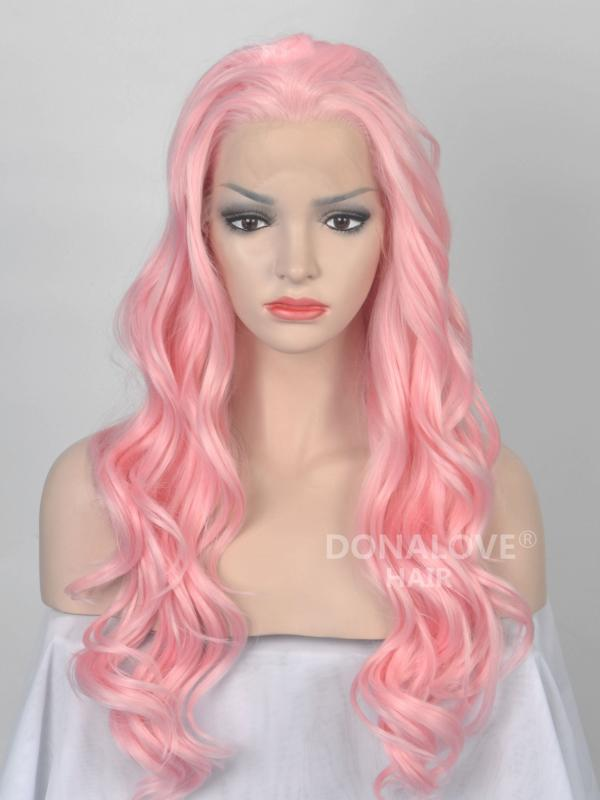 Pink Waist-length Wavy Synthetic Lace Wig-SNY064