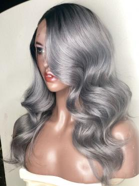 Black to Grey Wavy Full Lace Human Hair Wig AF005