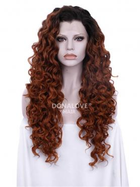 BLACK TO COPPER LONG CURLY SYNTHETIC LACE FRONT WIG SNY203