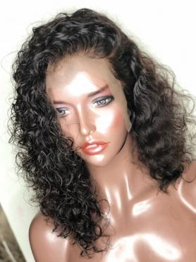 Natural Black Curly Bob Full Lace Human Hair Wig AF002