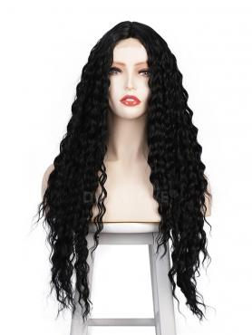 NATURAL BLACK LONG CURLY MIDDLE PART LACE WIG MPL003