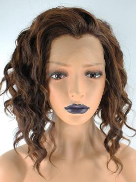 MIXED BROWN CURLY SYNTHETIC LACE FRONT WIG SNY060