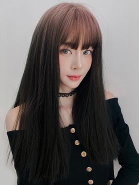 GRADIENT LONG STRAIGHT SYNTHETIC WEFTED CAP WIG LG367