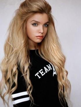 Gorgeous Blonde Ombre Long  Lace Front Human Hair Wig HH017