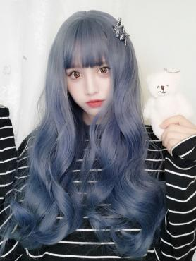 Magical Blue Long Wavy Synthetic Wefted Cap Wig LG018