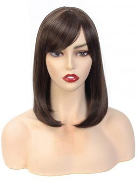 MIXED BROWN STRAIGHT SYNTHETIC WEFTED CAP WIG WW057