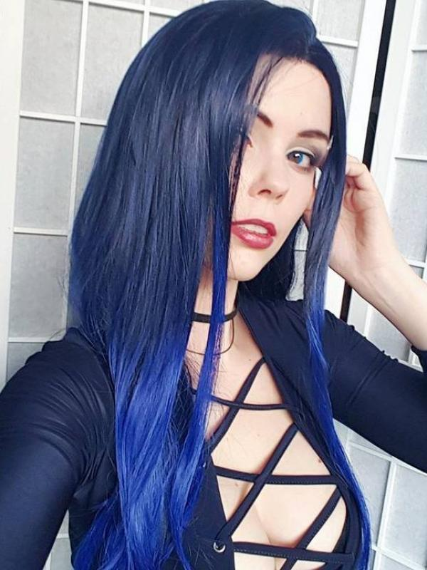 Blue Waist-length Straight Synthetic Lace Wig-SNY018
