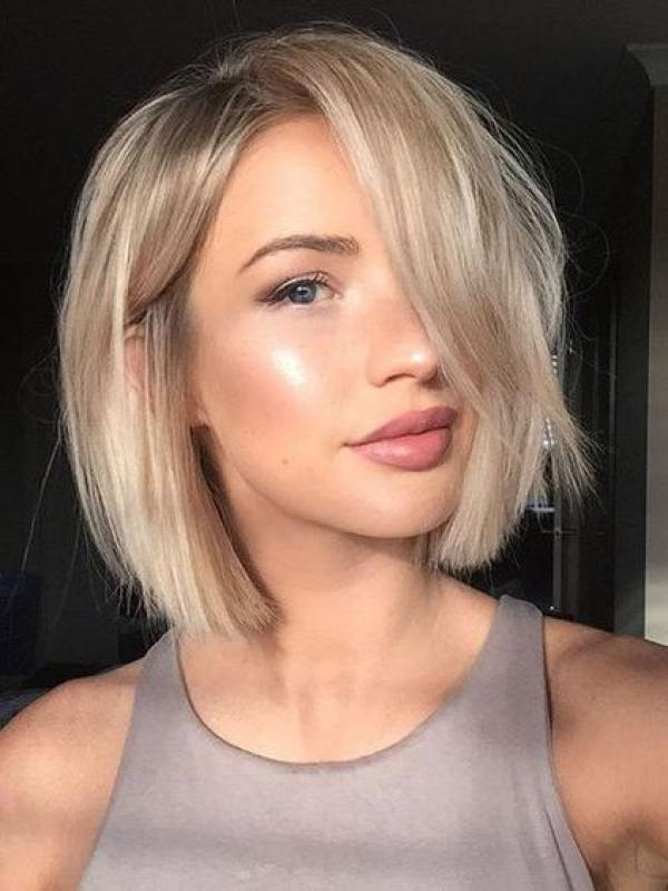 Gorgeous Blonde Fashion Bob Cut Human Hair Full Lace Wig Flw002