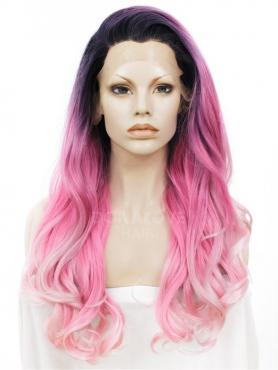 PINK OMBRE LONG WAVY SYNTHETIC LACE FRONT WIG SNY270