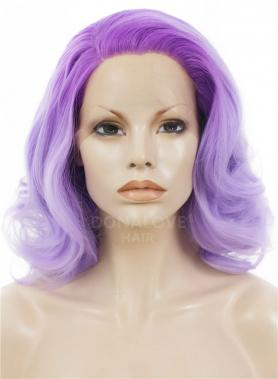 PURPLE OMBRE SHOULDER LENGTH WAVY SYNTHETIC LACE FRONT WIG SNY274