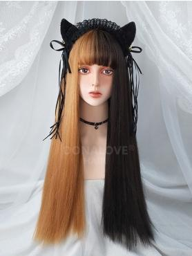 HALF BLACK AND HALF YELLOW LONG STRAIGHT SYNTHETIC WEFTED CAP WIG LG212