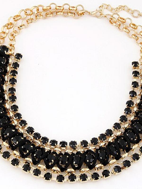 Layed Black Gemstone Gold Flower Chain Necklace A023