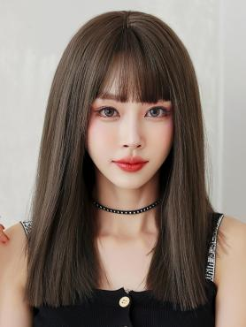 COOL BROWN STRAIGHT WITH BANGS SYNTHETIC WEFTED CAP WIG LG357