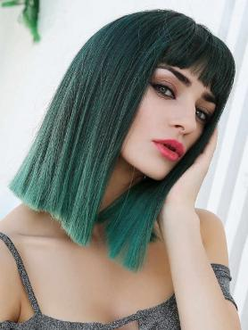 GRADIENT GREEN STRAIGHT SYNTHETIC WEFTED CAP WIG WW033