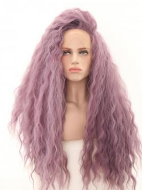 Lavender Purple Shade Slight Beach Wavy Waist-length Lace Front Synthetic Wig-DQ039